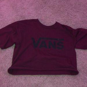 burgundy vans crop top